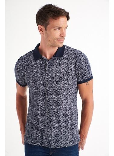 Avva Erkek  Polo Yaka Baskılı Tişört A01Y1131 Lacivert
